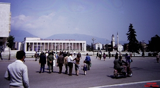 TIRANA Skand Sq with House of Culture and mosque